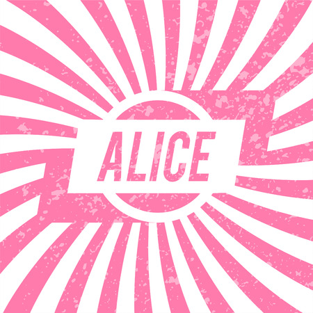 alice band: Name Alice, graphic design elements.