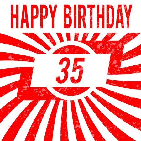 thirty five: Happy birthday card. Celebrazione di sfondo con il numero trentacinque e posto per il testo.