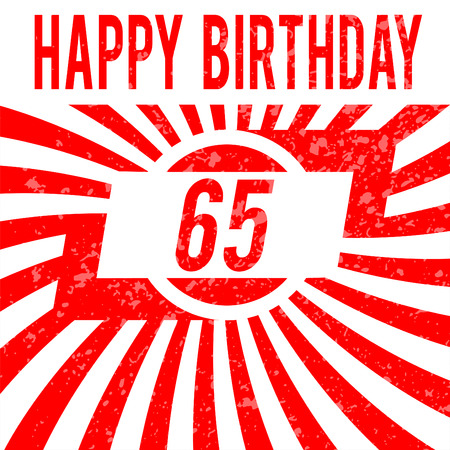 sixty: Happy birthday card. Celebration background with number sixty five and place for your text.