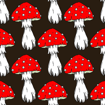 agaric: Fly agaric mushrooms seamless pattern.