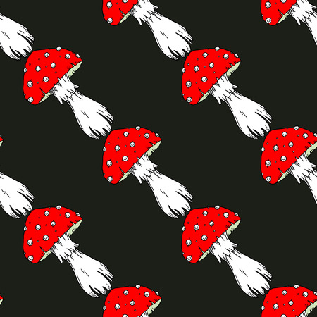 Fly agaric mushrooms seamless pattern.