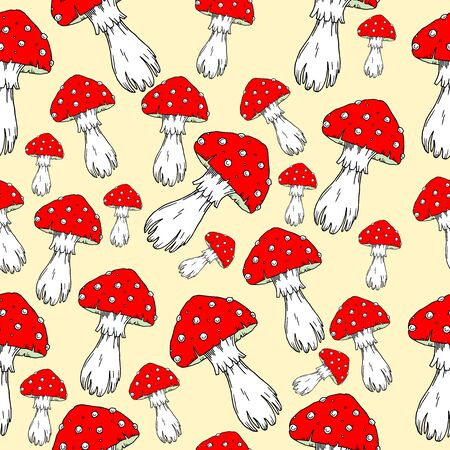 agaric: Fly agaric mushrooms seamless pattern. Illustration