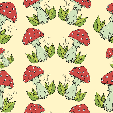 agaric: Fly agaric mushrooms seamless pattern. Illustration