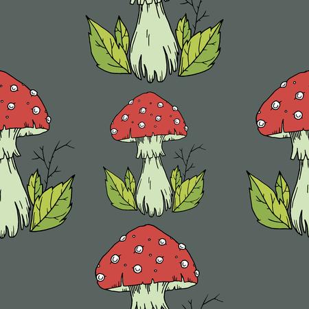 grebe: Fly agaric mushrooms seamless pattern.