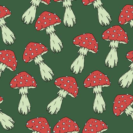 Fly agaric mushrooms seamless pattern.