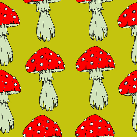 Fly agaric mushrooms seamless pattern. Illustration