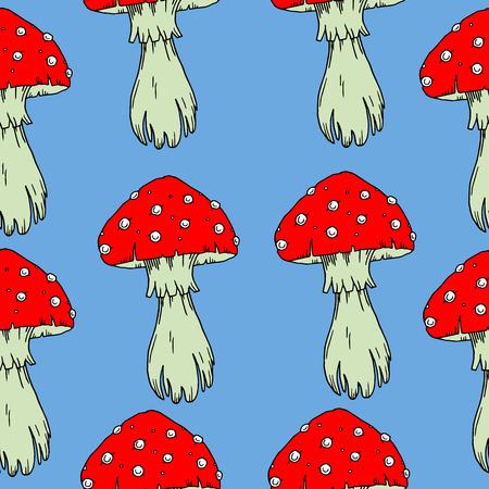 agaric: Fly agaric mushrooms seamless pattern.