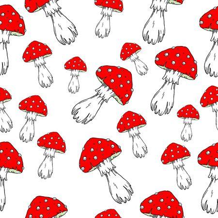 grebe: Fly agaric mushrooms seamless pattern. Illustration