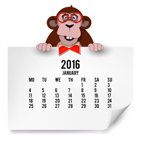 The European calendar with a monkey for 2016. The month of January.