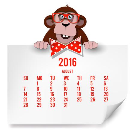 chimpances: Calendario con un mono de 2016. El mes de agosto.