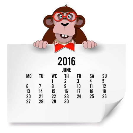 The European calendar with a monkey for 2016. The month of June.