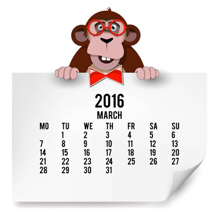 The European calendar with a monkey for 2016. The month of March.  Vector