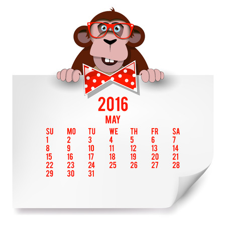Calendar with a monkey for 2016. The month of May.  Illustration