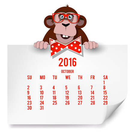 Calendar with a monkey for 2016. The month of October.  Illustration