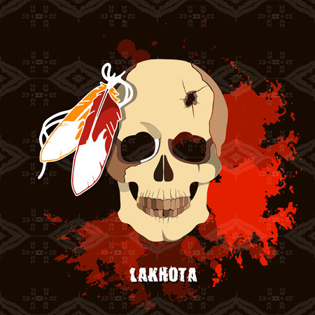 sioux: The deceased native American Lakhota. Conceptual vector illustration for print.