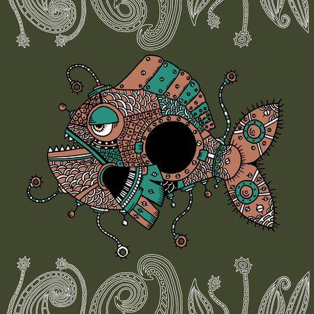 disgusting animal: Graphic illustration of Angler fish Illustration