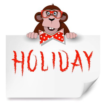 Cartoon monkey with glasses holding a sheet of paper on which is written holiday. Vettoriali