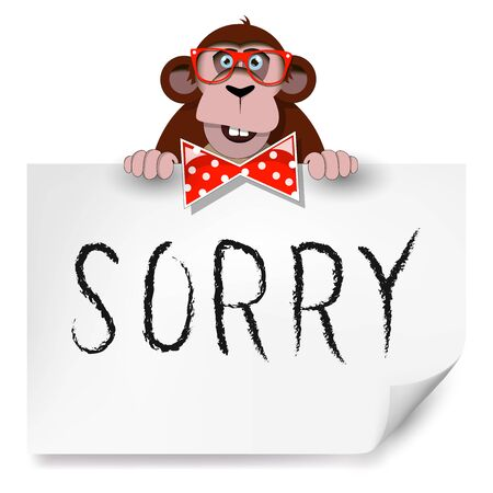 which: Cartoon monkey with glasses holding a sheet of paper on which is written sorry.  Illustration