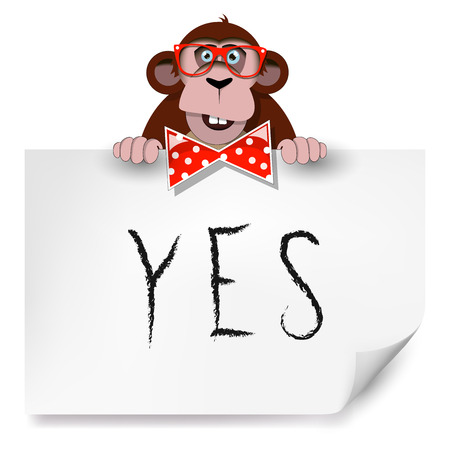 Cartoon monkey with glasses holding a sheet of paper on which is written yes. Illustration