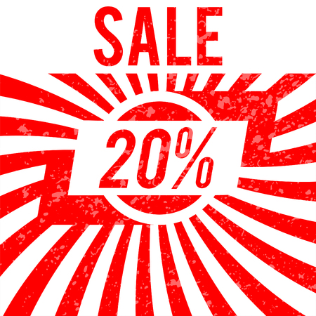 wholesale: Sale poster with 20% percent discount. Red edition for sales.  Illustration