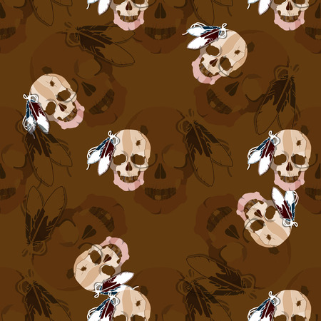 sioux: Seamless pattern with skull of an Indian tribe Lakhota.  Illustration