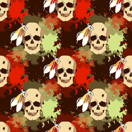 Seamless pattern with skull of an Indian tribe Lakhota.
