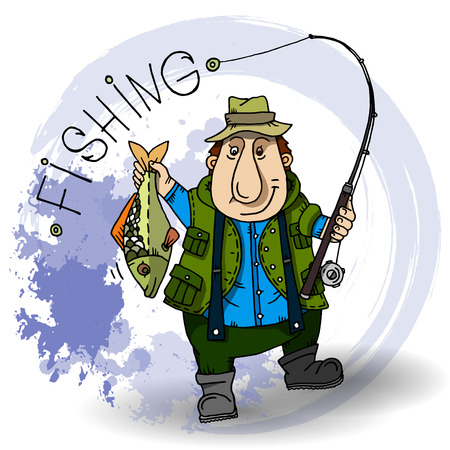 carp fishing: Fisherman Cartoon character with fishing rod and fish.