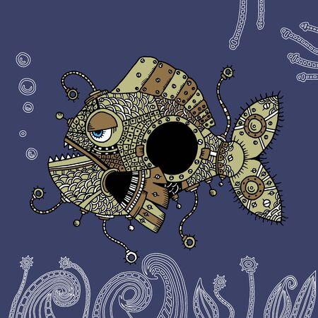 angler: Graphic illustration of Angler fish Illustration