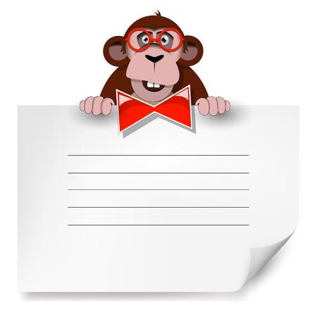 chimpances: Mono de dibujos animados con gafas, sosteniendo una hoja de papel en blanco. Adecuado para la portada, plantilla en blanco.