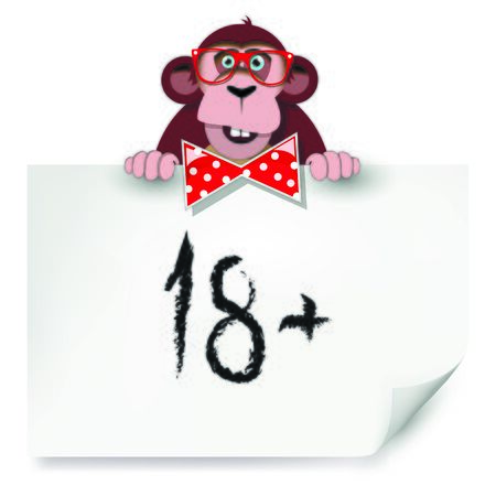 Cartoon monkey with glasses holding a sheet of paper on which is written eighteen.  Vector