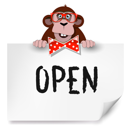 Cartoon monkey with glasses holding a sheet of paper on which is written open.