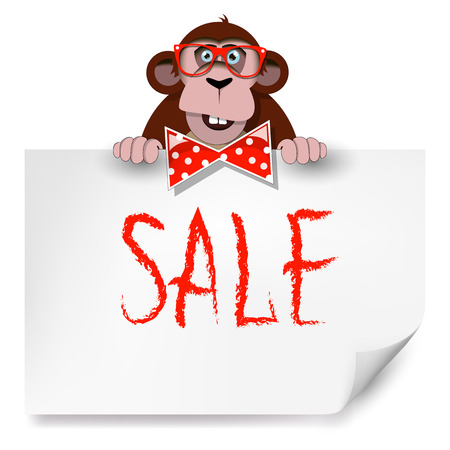 Cartoon monkey with glasses holding a sheet of paper on which is written SALE.  Vector