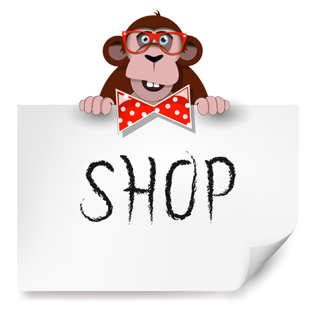 Cartoon monkey with glasses holding a sheet of paper on which is written shop.  Vector