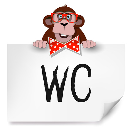 chimpanzees: Cartoon monkey with glasses holding a sheet of paper on which is written toilet.