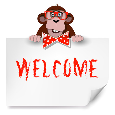 Cartoon monkey with glasses holding a sheet of paper on which is written welcome. Vector