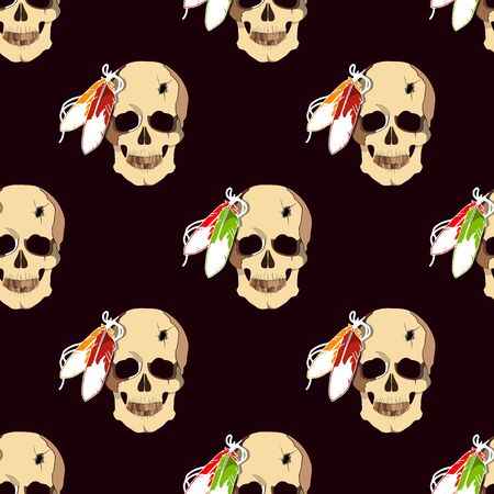 redskin: Seamless pattern with skull of an Indian tribe Lakhota