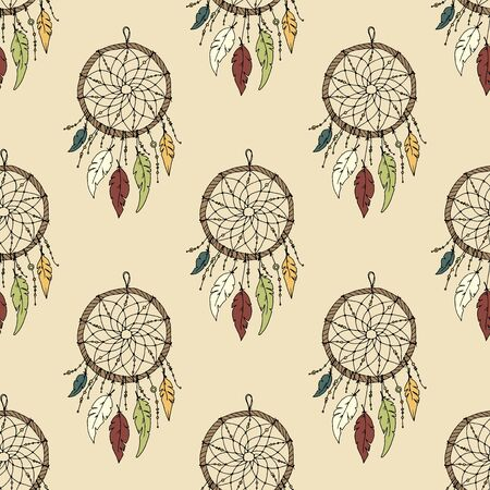 for a dream: Seamless illustration with dream catchers on a colored background. Can be used for textiles and Wallpaper. Illustration