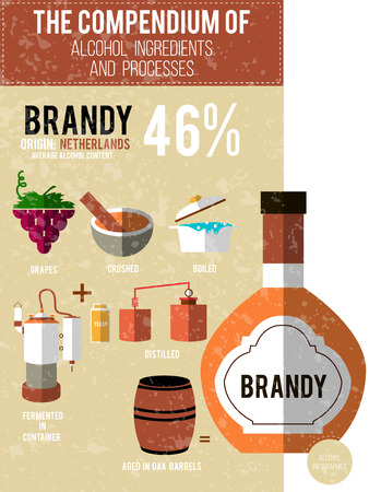 brandy: Vector illustration - a compendium of alcohol ingredients and processes. Brandy info graphic background.