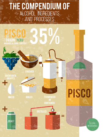 moonshine: Vector illustration - a compendium of alcohol ingredients and processes. Pisco info graphic background.