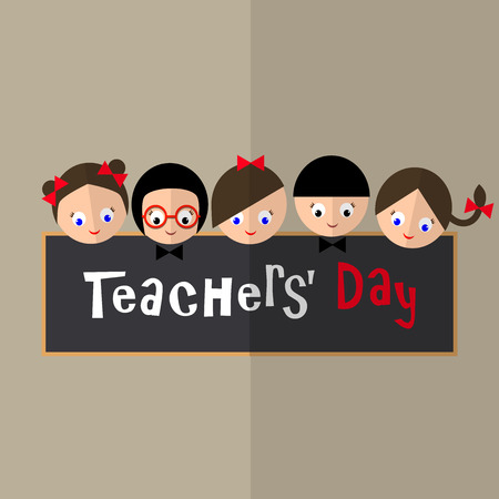 tuesday: Vector illustration - happy teachers difference teachers contributions. An annual celebration on Tuesday during the first full week of may since 1984.