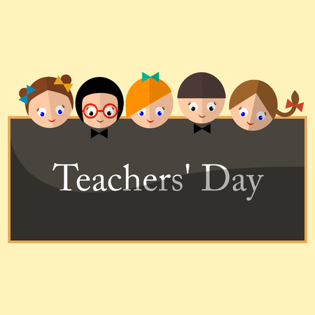 contributions: Vector illustration - happy teachers difference teachers contributions. An annual celebration on Tuesday during the first full week of may since 1984.