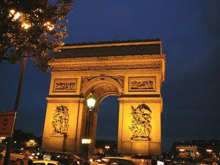 Arc de Triomphe lite up at night
