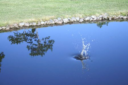 hits: Golf ball hits the water