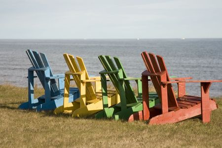 wooden lawnchairs photo