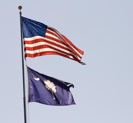 US and South Carolina Flags