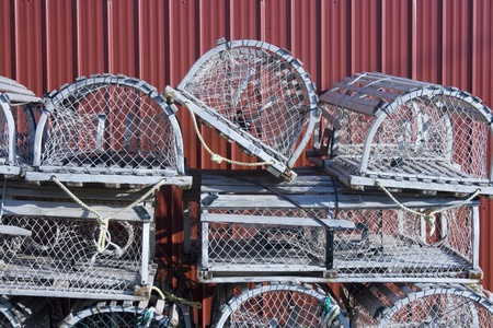 lobster pot: Lobster Traps Stock Photo