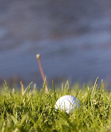 Golfbal in het gras Stockfoto