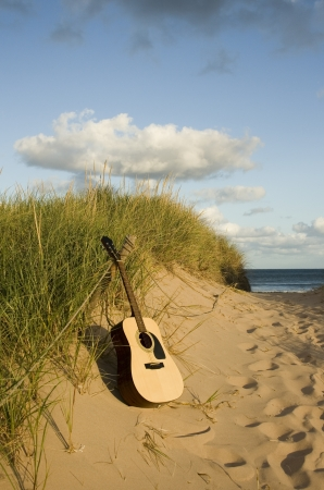 Guitar at the beach photo