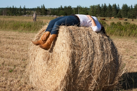 hay bales: Young Woman Stock Photo