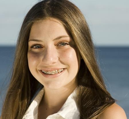 cute braces: Teen with braces Stock Photo